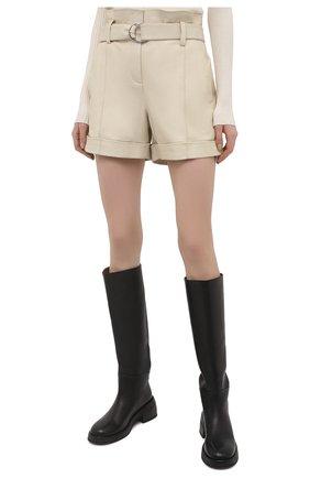 Женские кожаные шорты YVES SALOMON светло-бежевого цвета, арт. 21EYP21240APXX | Фото 3