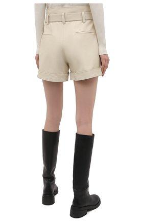 Женские кожаные шорты YVES SALOMON светло-бежевого цвета, арт. 21EYP21240APXX | Фото 4
