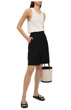 Женские кожаные шлепанцы pursuit GUCCI черного цвета, арт. 645770/0R0F0   Фото 2