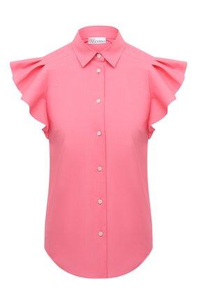 Женская хлопковая рубашка REDVALENTINO светло-розового цвета, арт. VR0AEC55/LUN   Фото 1 (Длина (для топов): Стандартные; Рукава: Короткие; Материал внешний: Синтетический материал, Хлопок; Стили: Романтичный; Принт: Без принта; Женское Кросс-КТ: Рубашка-одежда)