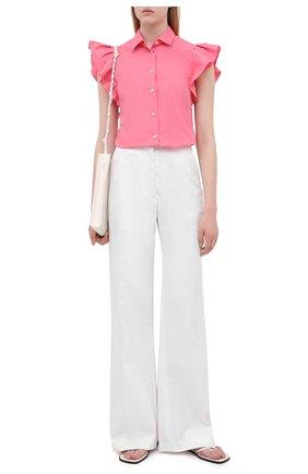 Женская хлопковая рубашка REDVALENTINO светло-розового цвета, арт. VR0AEC55/LUN   Фото 2 (Длина (для топов): Стандартные; Рукава: Короткие; Материал внешний: Синтетический материал, Хлопок; Стили: Романтичный; Принт: Без принта; Женское Кросс-КТ: Рубашка-одежда)