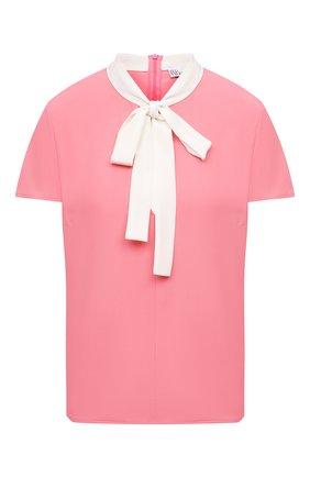 Женская блузка REDVALENTINO розового цвета, арт. VR0AAC45/5SM   Фото 1 (Рукава: Короткие; Длина (для топов): Стандартные; Материал внешний: Синтетический материал; Стили: Романтичный; Женское Кросс-КТ: Блуза-одежда; Принт: Без принта)