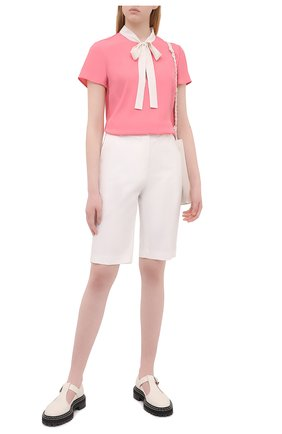 Женская блузка REDVALENTINO розового цвета, арт. VR0AAC45/5SM   Фото 2 (Рукава: Короткие; Длина (для топов): Стандартные; Материал внешний: Синтетический материал; Стили: Романтичный; Женское Кросс-КТ: Блуза-одежда; Принт: Без принта)