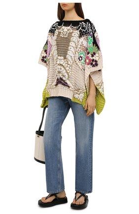 Женская хлопковое пончо VALENTINO разноцветного цвета, арт. VB3KC21J695 | Фото 2 (Материал внешний: Хлопок; Стили: Бохо; Длина (верхняя одежда): Короткие)