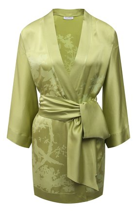 Женский шелковый халат CARINE GILSON зеленого цвета, арт. RG09280G S21 | Фото 1