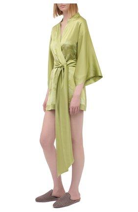 Женский шелковый халат CARINE GILSON зеленого цвета, арт. RG09280G S21 | Фото 2