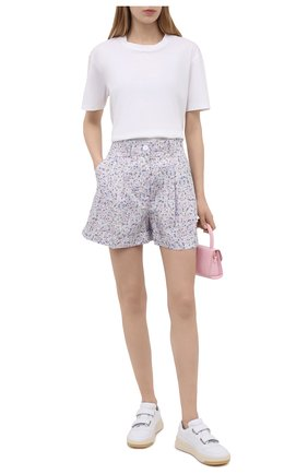 Женские хлопковые шорты ERMANNO FIRENZE сиреневого цвета, арт. D38ET PC05PFF | Фото 2