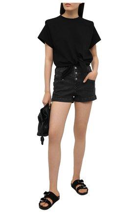 Женская хлопковая футболка ISABEL MARANT черного цвета, арт. TS0780-21P027I/ZELIT0   Фото 2