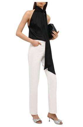 Женские текстильные мюли sr twenty SERGIO ROSSI серебряного цвета, арт. A94320-MTE101 | Фото 2