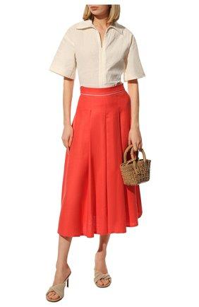 Женская льняная юбка LORO PIANA кораллового цвета, арт. FAL6345 | Фото 2