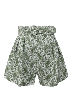 Женские льняное шорты FAITHFULL THE BRAND зеленого цвета, арт. FF1450-SGP | Фото 1 (Длина Ж (юбки, платья, шорты): Мини; Материал внешний: Лен; Стили: Романтичный; Женское Кросс-КТ: Шорты-одежда)