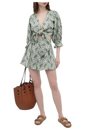 Женские льняное шорты FAITHFULL THE BRAND зеленого цвета, арт. FF1450-SGP | Фото 2 (Длина Ж (юбки, платья, шорты): Мини; Материал внешний: Лен; Стили: Романтичный; Женское Кросс-КТ: Шорты-одежда)
