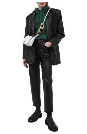 Женский хлопковое худи DRIES VAN NOTEN темно-зеленого цвета, арт. 211-11176-2629   Фото 2