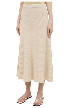 Женская хлопковая юбка JOSEPH светло-бежевого цвета, арт. JF005313 | Фото 3