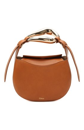 Женская сумка kiss CHLOÉ светло-коричневого цвета, арт. CHC21US350E48 | Фото 1 (Размер: mini; Материал: Натуральная кожа; Ремень/цепочка: На ремешке; Сумки-технические: Сумки top-handle, Сумки через плечо)