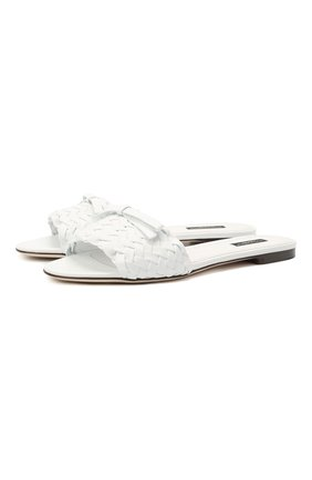Женские кожаные шлепанцы bianca DOLCE & GABBANA белого цвета, арт. CQ0431/A0397 | Фото 1 (Каблук высота: Низкий; Материал внутренний: Натуральная кожа; Подошва: Плоская)