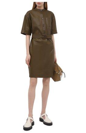 Женское кожаное платье WINDSOR хаки цвета, арт. 52 DL513 10004214   Фото 2