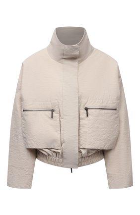 Женская хлопковая куртка EMPORIO ARMANI бежевого цвета, арт. 0NB4CT/02060   Фото 1