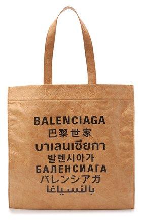 Женский сумка-тоут shopping m BALENCIAGA бежевого цвета, арт. 508454/2KE13 | Фото 1 (Материал: Текстиль; Размер: large; Сумки-технические: Сумки-шопперы)