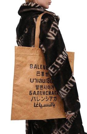 Женский сумка-тоут shopping m BALENCIAGA бежевого цвета, арт. 508454/2KE13 | Фото 2 (Материал: Текстиль; Размер: large; Сумки-технические: Сумки-шопперы)