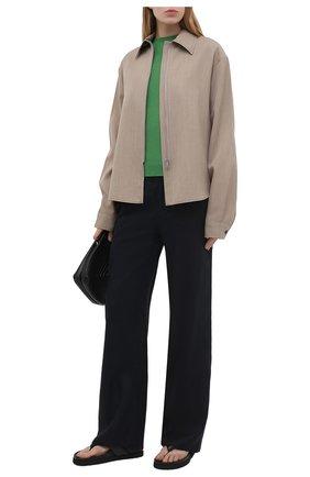 Женские льняные брюки EMPORIO ARMANI темно-синего цвета, арт. ANP40T/A2057   Фото 2