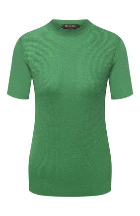 Женский пуловер из шелка и хлопка LORO PIANA зеленого цвета, арт. FAL5794 | Фото 1