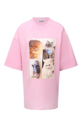 Женская хлопковая футболка BALENCIAGA розового цвета, арт. 641532/TJVG8 | Фото 1