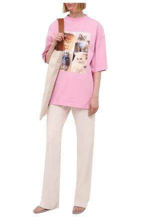 Женская хлопковая футболка BALENCIAGA розового цвета, арт. 641532/TJVG8 | Фото 2