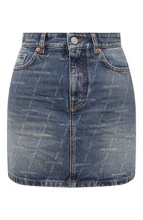 Женская джинсовая юбка BALENCIAGA синего цвета, арт. 641518/TJW53   Фото 1