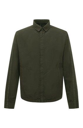 Мужская рубашка из хлопка и вискозы TRANSIT хаки цвета, арт. CFUTRNE144   Фото 1