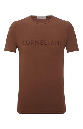 Мужская хлопковая футболка CORNELIANI коричневого цвета, арт. 87G574-1125047/00 | Фото 1 (Стили: Кэжуэл; Материал внешний: Хлопок; Принт: С принтом; Длина (для топов): Стандартные; Рукава: Короткие)