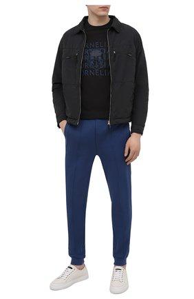 Мужская хлопковая футболка CORNELIANI черного цвета, арт. 87G577-1125040/00 | Фото 2 (Стили: Кэжуэл; Рукава: Короткие; Длина (для топов): Стандартные; Принт: С принтом; Материал внешний: Хлопок)