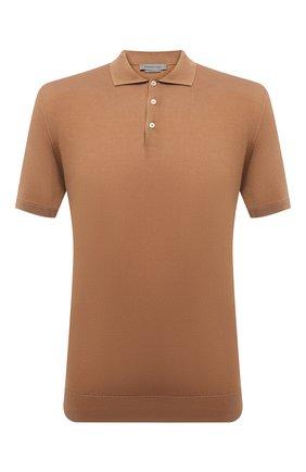 Мужское хлопковое поло CORNELIANI коричневого цвета, арт. 87M582-1125136/00   Фото 1