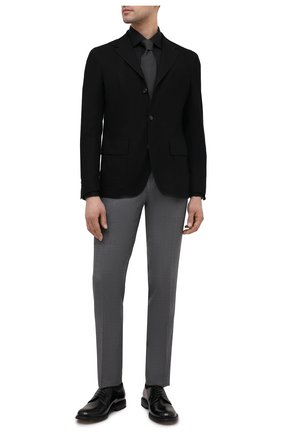 Мужской пиджак из шелка и хлопка CORNELIANI черного цвета, арт. 87X543-1116395/90 | Фото 2 (Рукава: Длинные; Материал внешний: Шелк, Хлопок; Стили: Кэжуэл; Пиджаки М: Приталенный; Случай: Повседневный; Длина (для топов): Стандартные; 1-2-бортные: Однобортные)