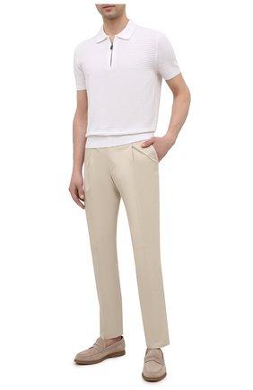 Мужские хлопковые брюки CORNELIANI светло-бежевого цвета, арт. 874L03-1114504/00 | Фото 2