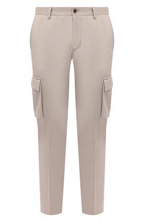 Мужские брюки-карго из хлопка и кашемира CORNELIANI светло-бежевого цвета, арт. 874L02-1114105/00 | Фото 1