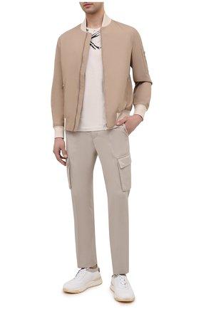 Мужские брюки-карго из хлопка и кашемира CORNELIANI светло-бежевого цвета, арт. 874L02-1114105/00 | Фото 2