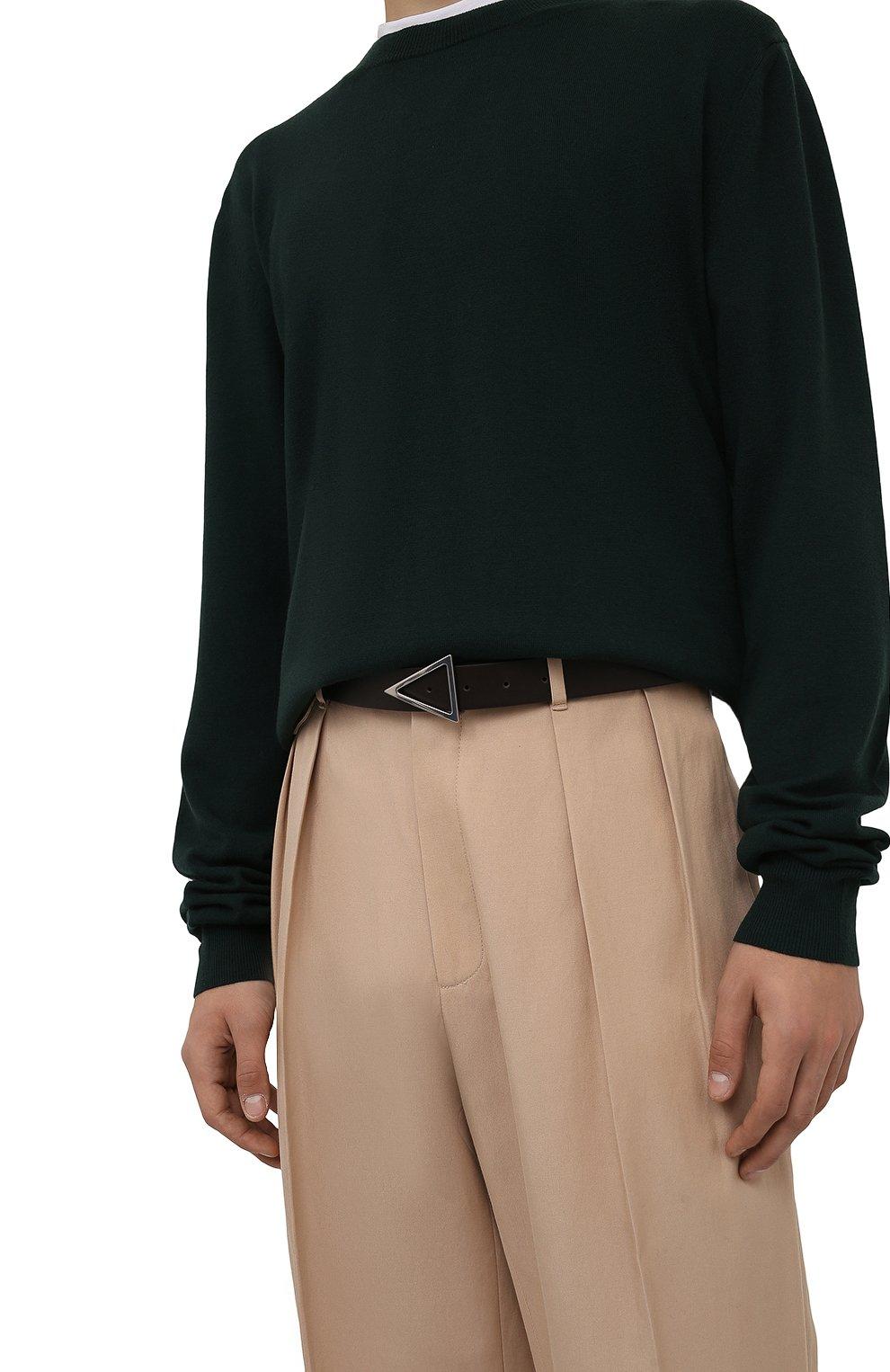 Мужской кожаный ремень BOTTEGA VENETA темно-коричневого цвета, арт. 657154/VMAU3 | Фото 2 (Случай: Повседневный)