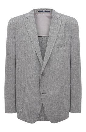 Мужской пиджак из хлопка и льна EDUARD DRESSLER серого цвета, арт. 7301/21J00 | Фото 1