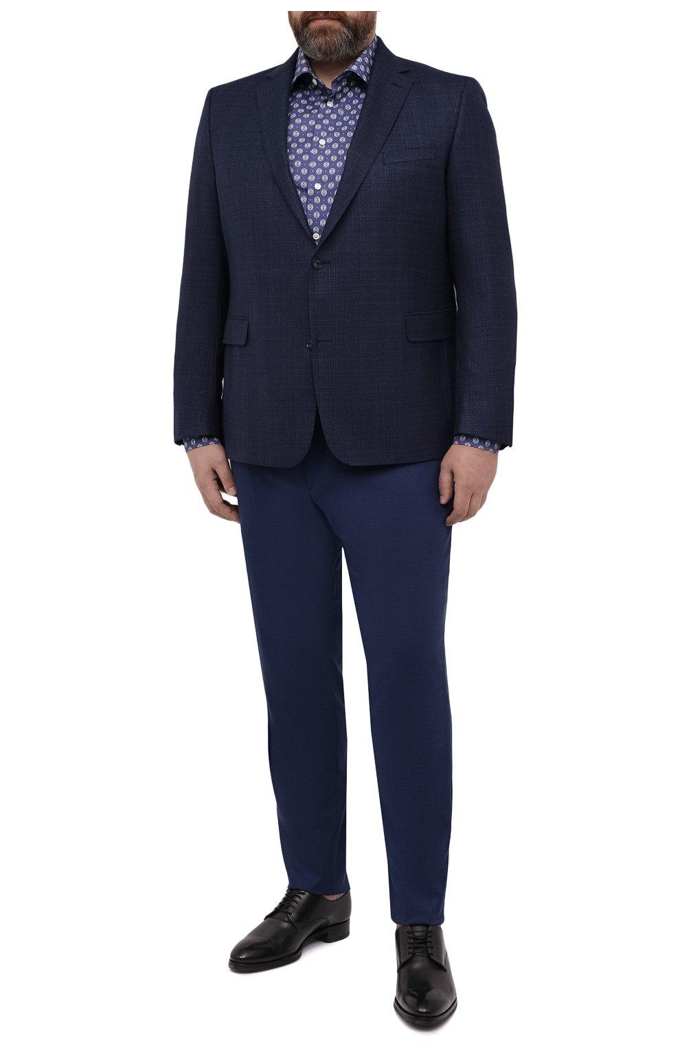 Мужские шерстяные брюки MARCO PESCAROLO синего цвета, арт. CHIAIAM/4328 | Фото 2 (Big sizes: Big Sizes; Материал внешний: Шерсть; Длина (брюки, джинсы): Стандартные; Стили: Классический; Случай: Формальный)