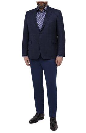 Мужские шерстяные брюки MARCO PESCAROLO синего цвета, арт. CHIAIAM/4328 | Фото 2 (Стили: Классический; Случай: Формальный; Длина (брюки, джинсы): Стандартные; Big sizes: Big Sizes; Материал внешний: Шерсть)