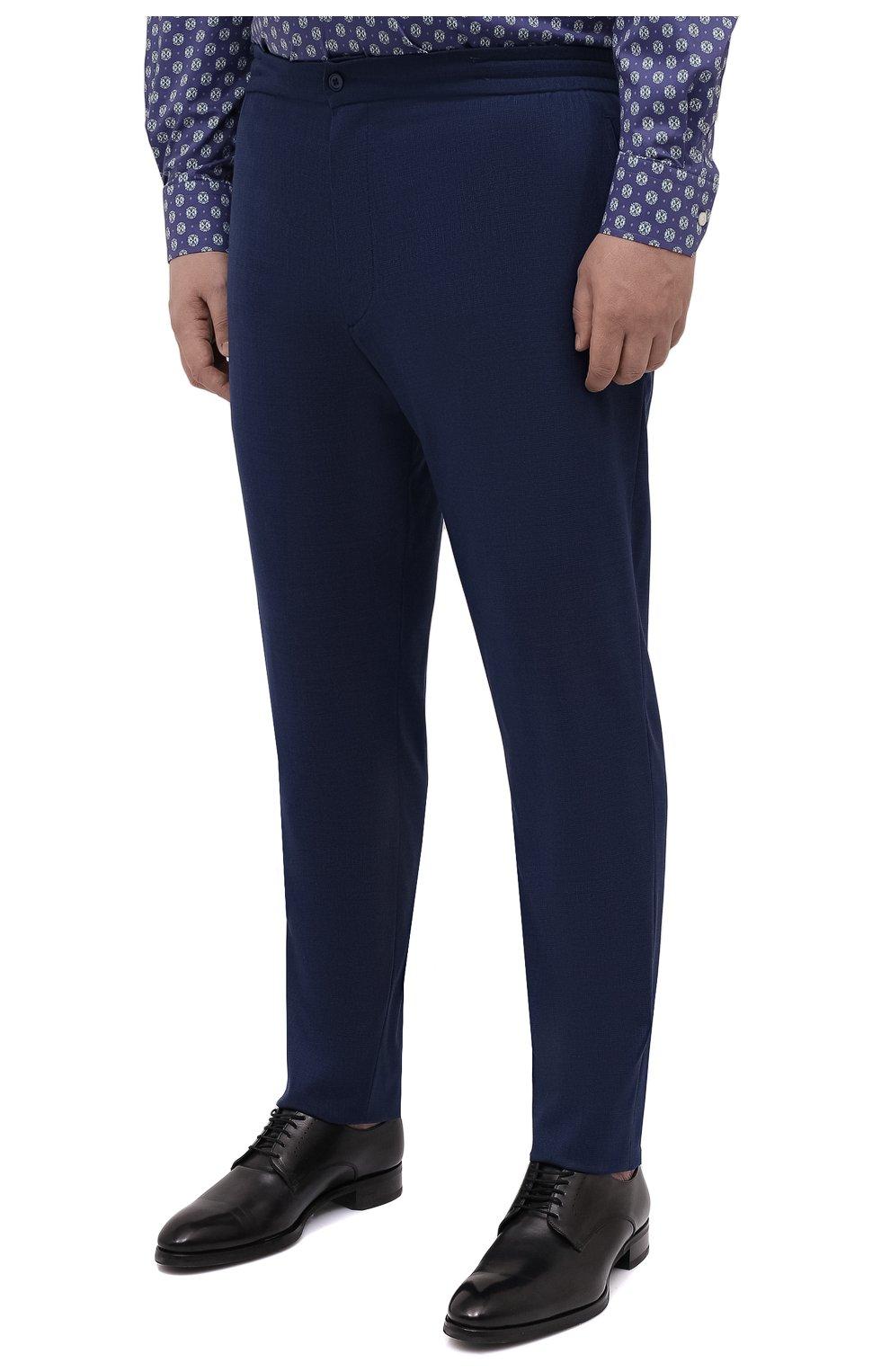 Мужские шерстяные брюки MARCO PESCAROLO синего цвета, арт. CHIAIAM/4328 | Фото 3 (Big sizes: Big Sizes; Материал внешний: Шерсть; Длина (брюки, джинсы): Стандартные; Стили: Классический; Случай: Формальный)