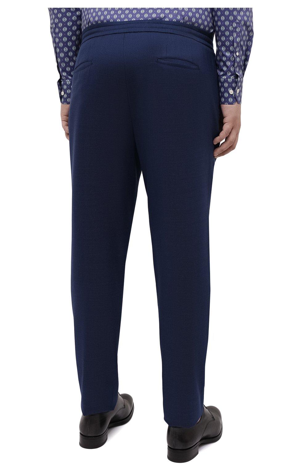 Мужские шерстяные брюки MARCO PESCAROLO синего цвета, арт. CHIAIAM/4328 | Фото 4 (Big sizes: Big Sizes; Материал внешний: Шерсть; Длина (брюки, джинсы): Стандартные; Стили: Классический; Случай: Формальный)