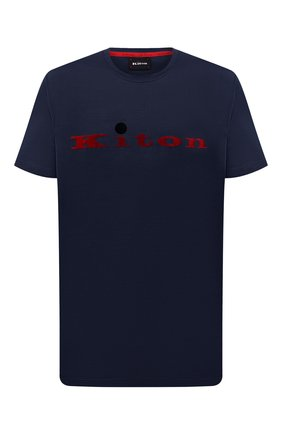 Мужская хлопковая футболка KITON синего цвета, арт. UK1164L | Фото 1