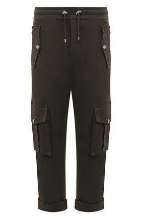 Мужские хлопковые брюки-карго BALMAIN хаки цвета, арт. VH10B029/J194 | Фото 1