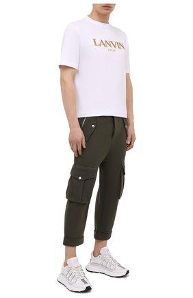 Мужские хлопковые брюки-карго BALMAIN хаки цвета, арт. VH10B029/J194 | Фото 2
