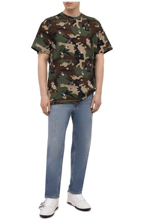 Мужская хлопковая футболка OFF-WHITE хаки цвета, арт. 0MAA038S21JER016   Фото 2