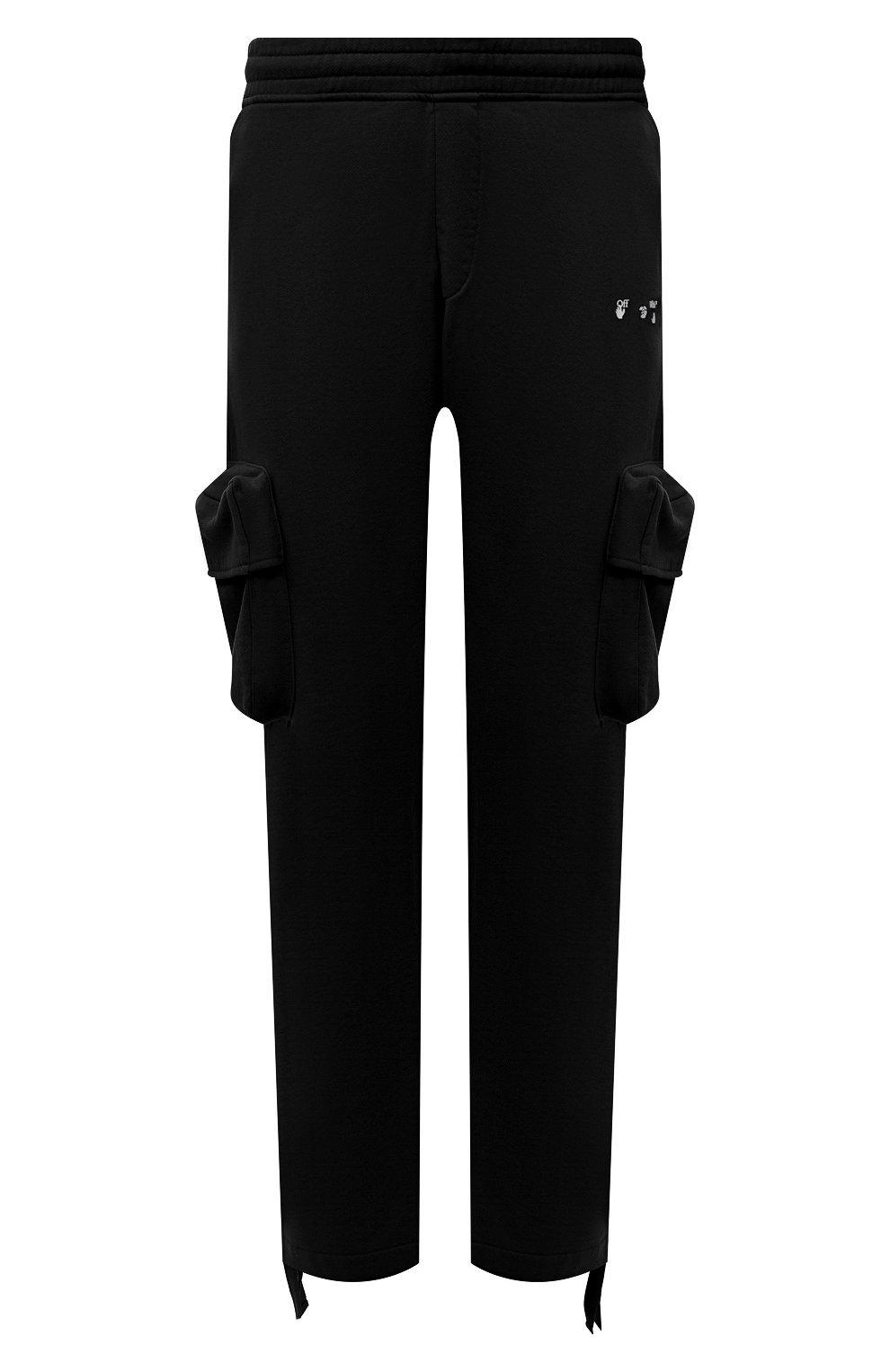 Мужские хлопковые брюки-карго OFF-WHITE черного цвета, арт. 0MCH036S21FLE001   Фото 1 (Силуэт М (брюки): Карго; Мужское Кросс-КТ: Брюки-трикотаж; Длина (брюки, джинсы): Стандартные; Случай: Повседневный; Стили: Гранж; Материал внешний: Хлопок)