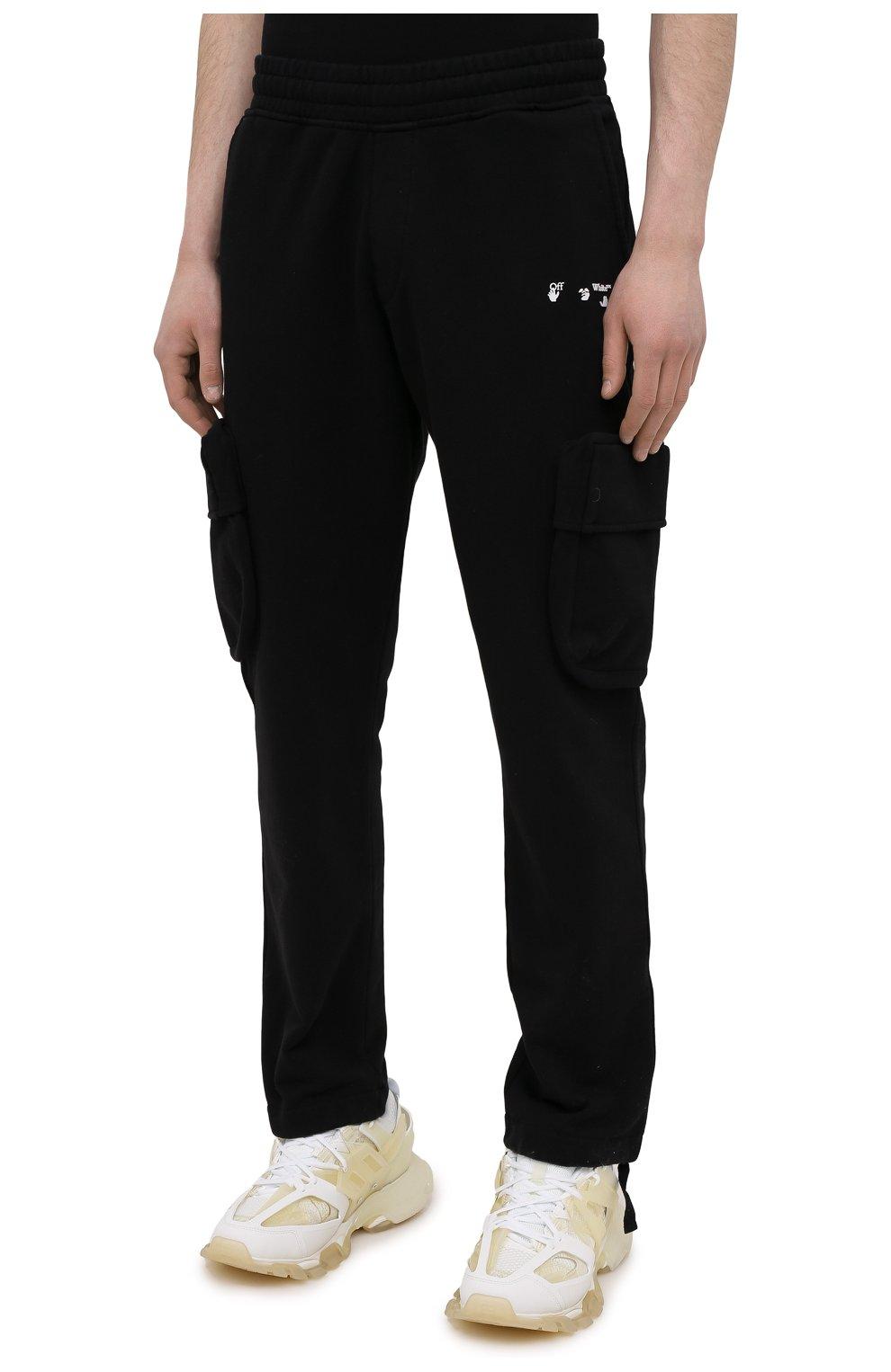 Мужские хлопковые брюки-карго OFF-WHITE черного цвета, арт. 0MCH036S21FLE001   Фото 3 (Силуэт М (брюки): Карго; Мужское Кросс-КТ: Брюки-трикотаж; Длина (брюки, джинсы): Стандартные; Случай: Повседневный; Стили: Гранж; Материал внешний: Хлопок)