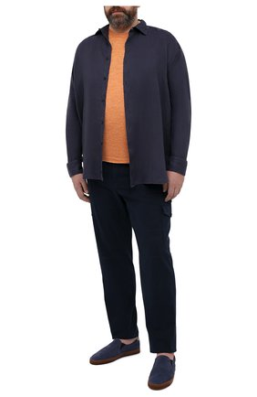 Мужская льняная рубашка PAUL&SHARK темно-синего цвета, арт. 21413220/F7E | Фото 2